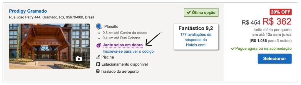 Hoteis.com Selos em Dobro