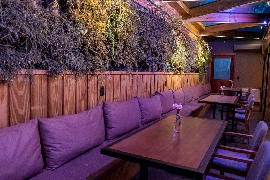 Parede verde do Wood Lounge Bar e Restaurante (Foto: Andy Spinelli)