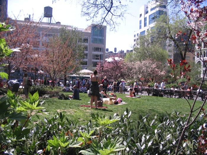 Pessoas tomando sol nos gramados da Union Square