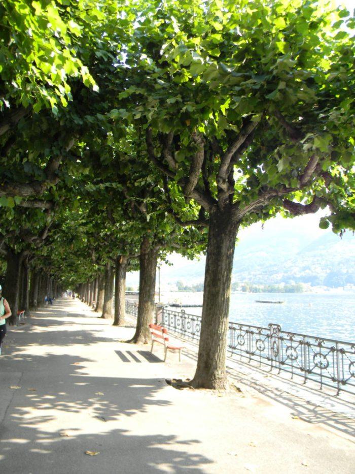Caminhamos pela alameda paralela ao Lago de Lugano