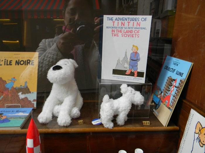 Livros e Milus de pelúcia na vitrine