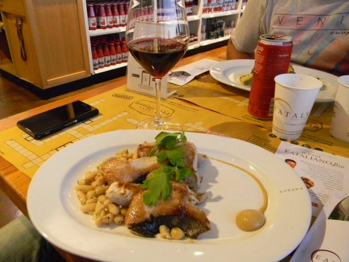 Prato e peixe do Eataly de Genova