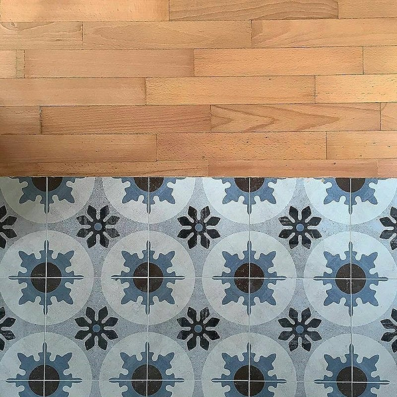carrelage imitation carreaux ciment bleu marron blanc cementine