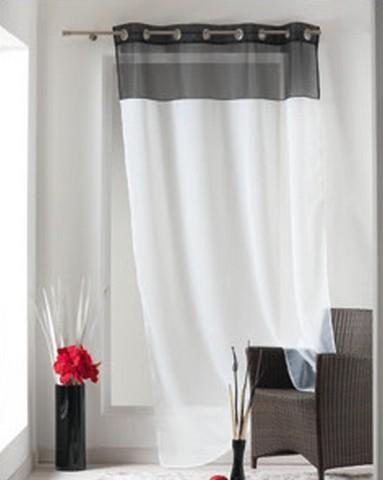 panneau voilage bicolore blanc noir 1 x 140 x 240 cm destockage