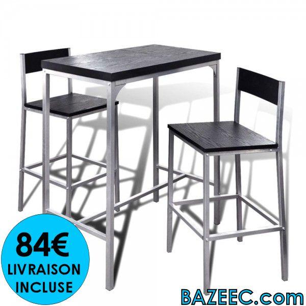 table haute de bar avec 2 tabourets