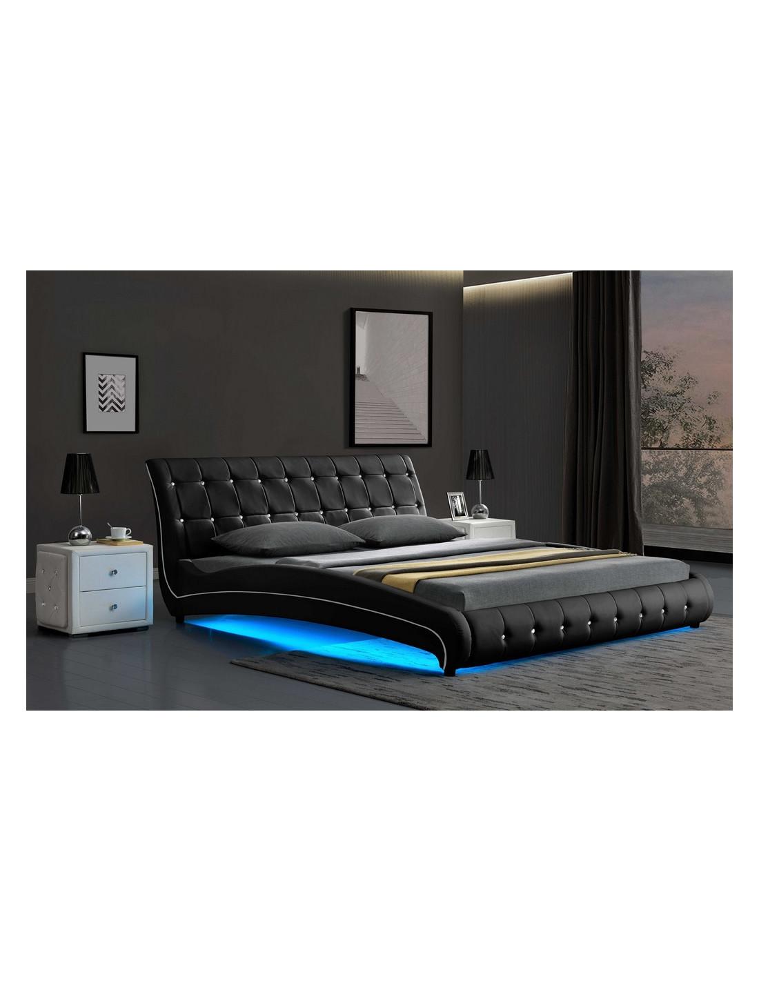 lit led kenza capitonne noir ces lits avec led creeront une atmos