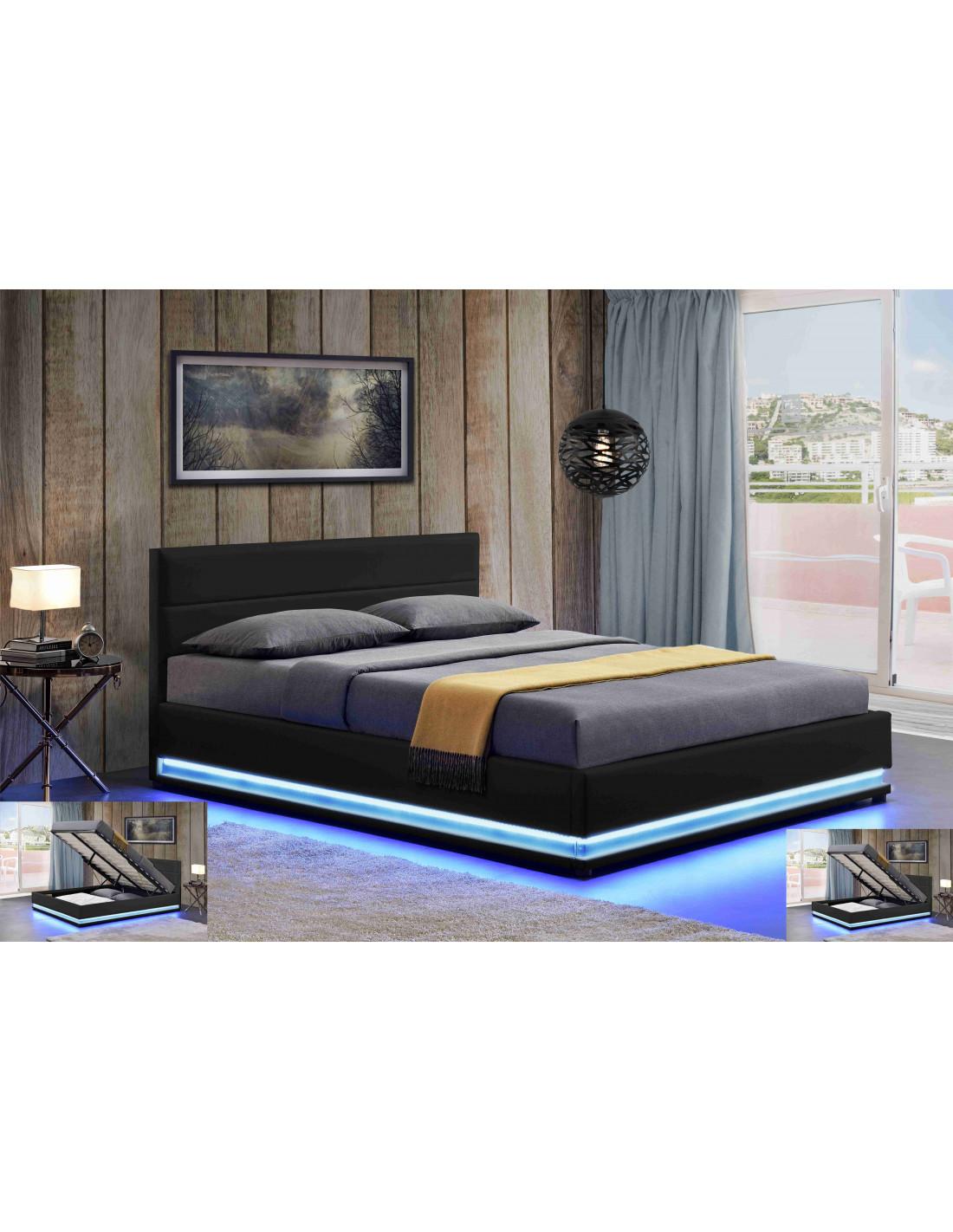 lit led avec coffre de rangement ava noir description