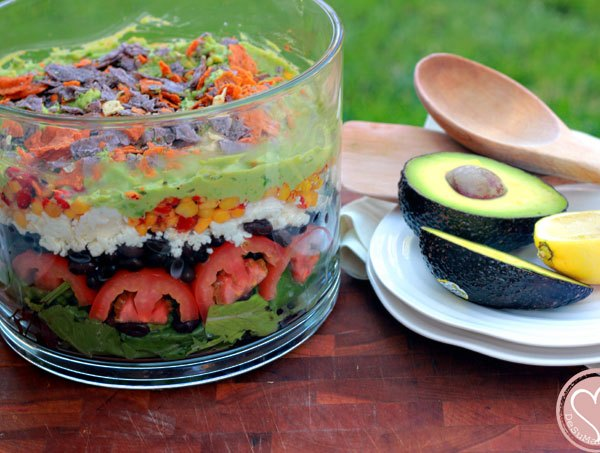 7 layer salad, layered salad, mexican salad, summer salad, food culture, food traditions, family legacy