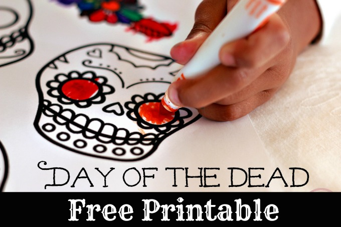 mexican day of the dead with kid art free printable