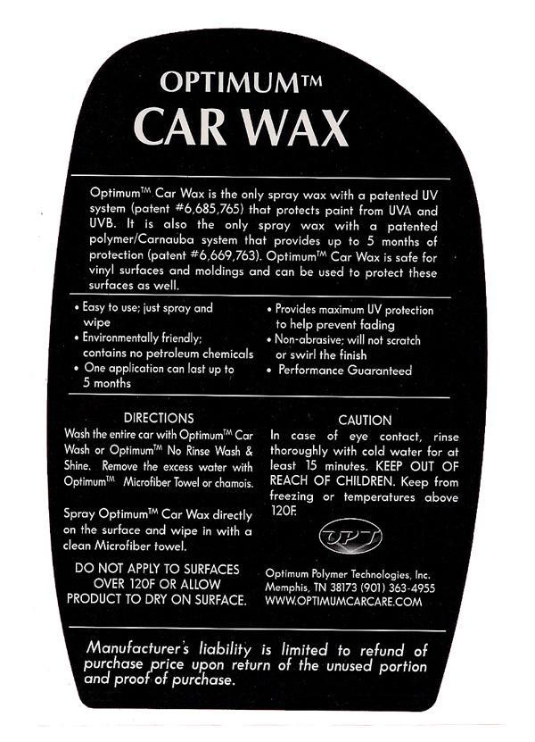 Optimum Car Wax 17 Oz Free Shipping Available