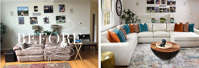 Modern Comfortable Family Room - Interior Design in MA - Details Full Service Interiors