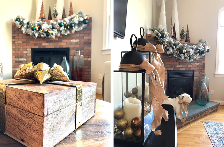 How to decorate a modern family room for Christmas - Details Full Service Interiors - Christmas Decorating Services