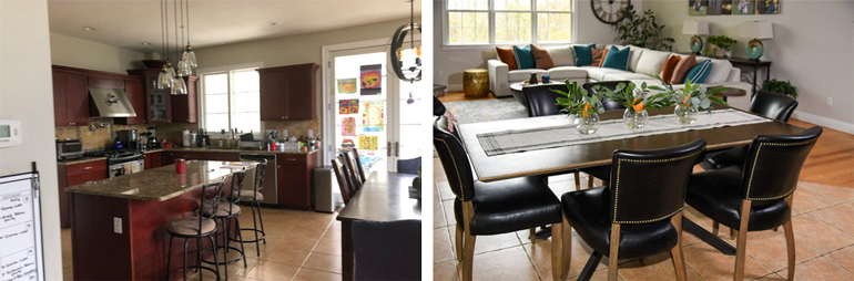 Modern Open Kitchen with Eating Area - Black Nailhead Trim Leather Chair - Details Full Service Interiors - Western MA Interior Decorator