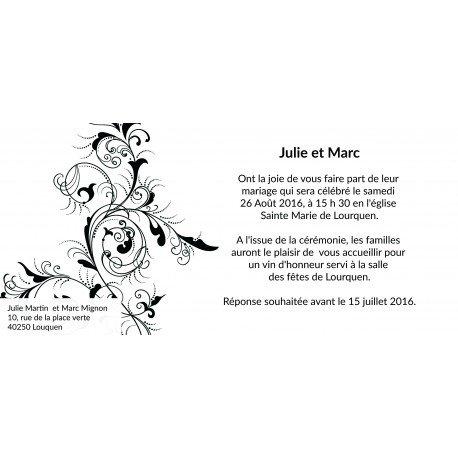 carte d invitation mariage baroque