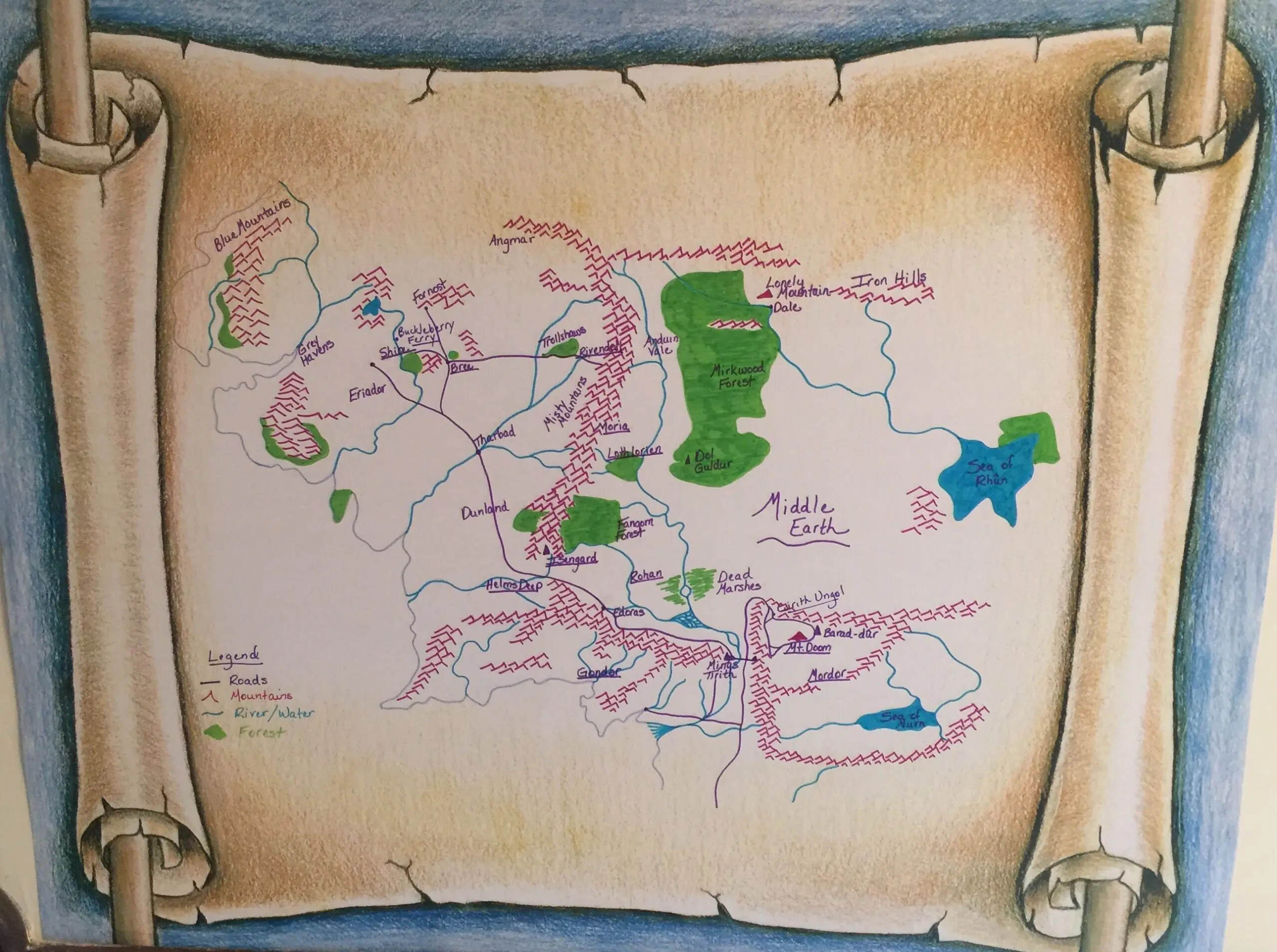 Map of Middle Earth-Lord of the Rings