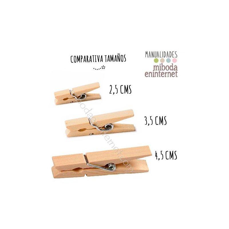 pinza madera natural 3,5 cms grande decoracion eventos