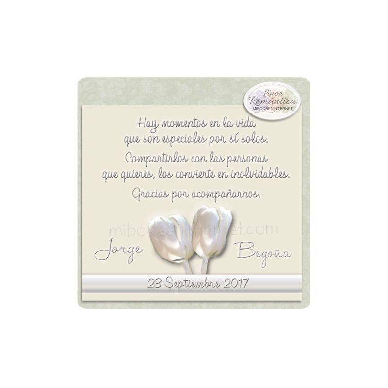 Tarjeta Agradecimiento Boda Tulipanes Constanza
