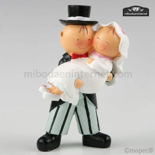 Figura pastel Pit & Pita novia en brazos 16 cm