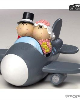 Figura pastel Pit Pita Novios Avion Hucha