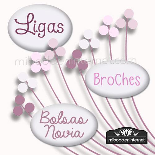 Ligas, Broches y Bolsas Novia