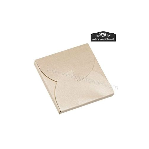 Caja Cartón Beige metalizada cuadrada 7x7x1 cm