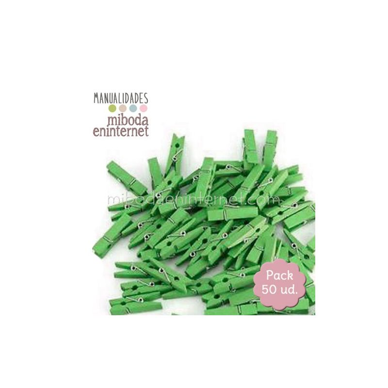 Mini Pinza madera verde 50ud