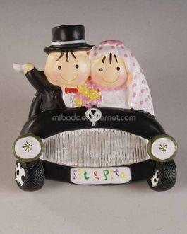 Imán Pit & Pita Novios en coche