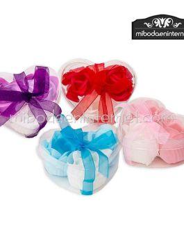 Rosa pétalos jabón en caja y lazo
