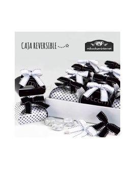Caja reversible blanco y negro con lazo y 3 bombones
