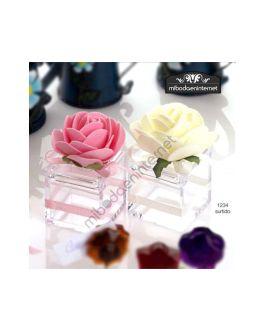 Cajita Cubo Metacrilato Transparente con Flor