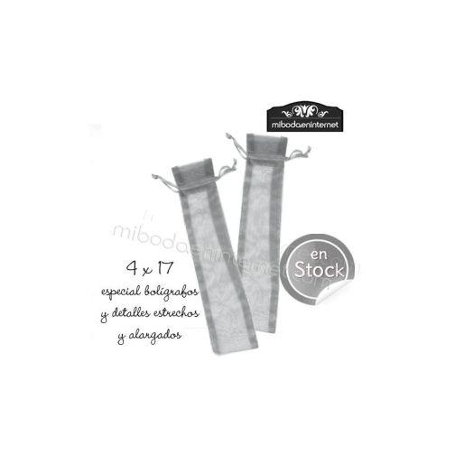 Bolsa Organza 4 x 17 plata (boligrafos, navajas...)
