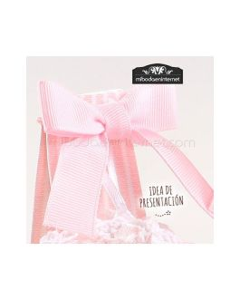 Caja alta cartón lunares rosa 14×3,5×3,5