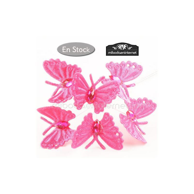 Pack 6 picks mariposa fucsia con gema tallada