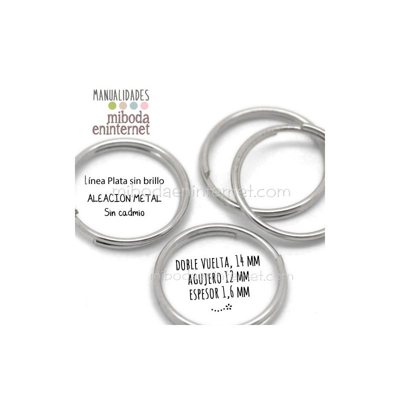 Anilla metal plata mate abierta doble 14 mm Pack 10 ud