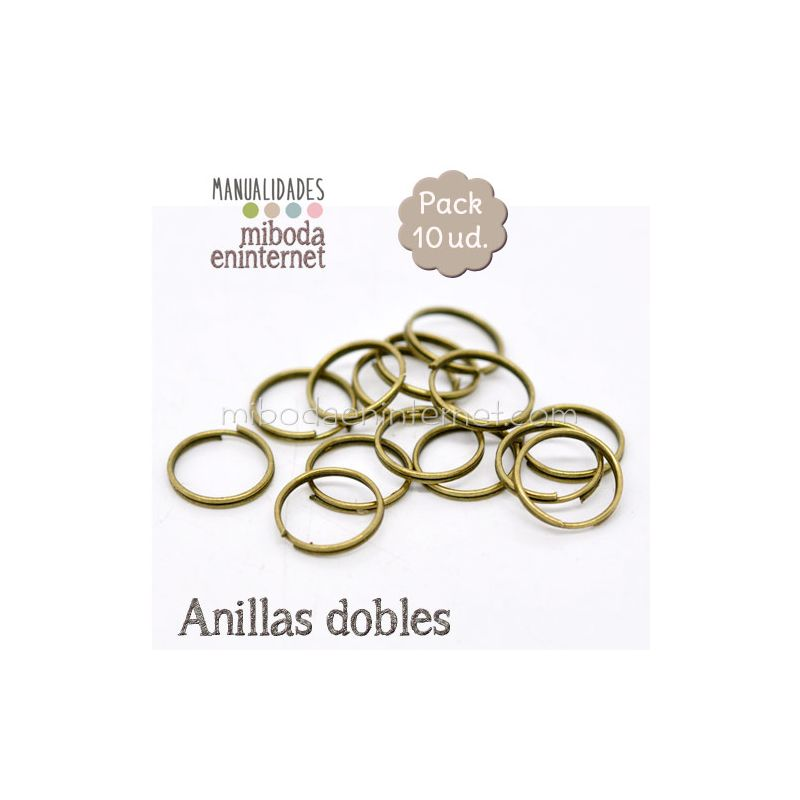 Anilla metal bronce abierta doble 12 mm Pack 10 ud