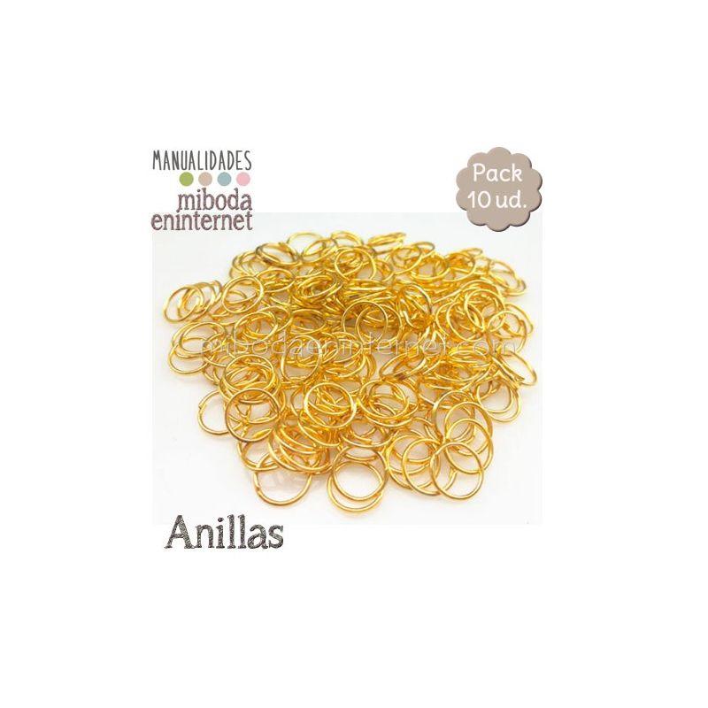 Anilla metal oro abierta 10 mm Pack 10 ud