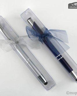 Bolígrafo puntero tactil plata/azul en estuche