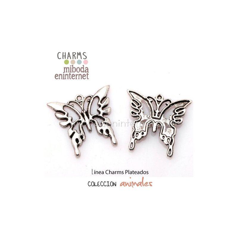 Charm Mariposa plata 26x25mm