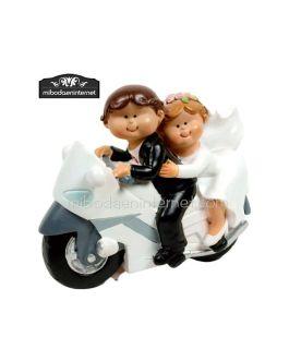 Novios Mouflins en moto