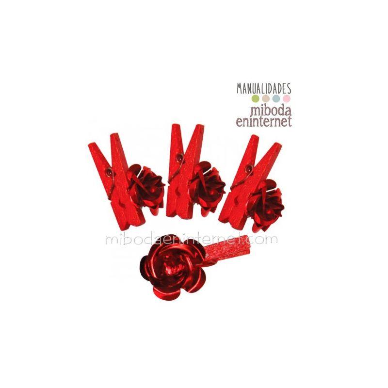 Mini Pinza Flor roja Metal Pack 6 uds