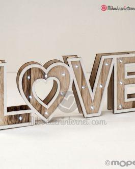 Letras madera LOVE con LED