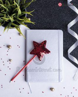Bolígrafo Estrella Roja Lentejuelas