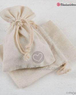 Bolsa algodón color Marfil 7.5×10 cms