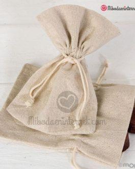Bolsa algodón beige 10,5×14,5 cm.