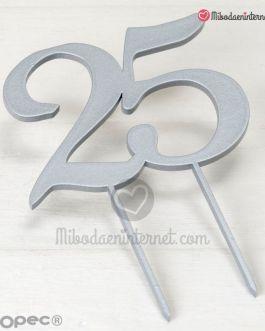 Caketopper 25 aniversario madera color plata