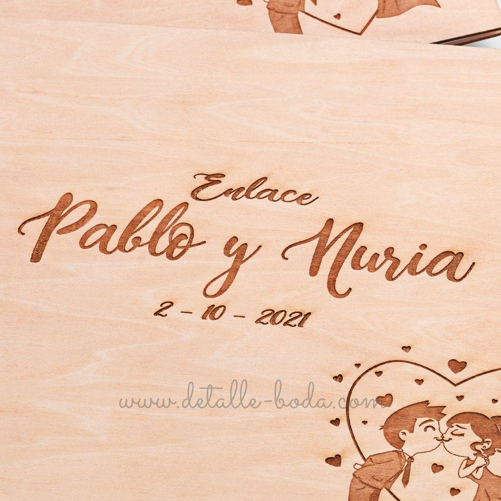 libro de boda de madera grabado