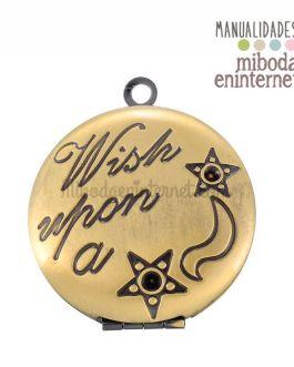 Camafeo colgante guardapelo metal dorado Wish upon a star