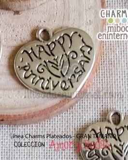 Charm Colgante corazon plateado Happy Anniversary