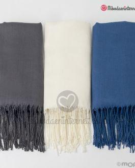 Pashmina gris, azul y marfil
