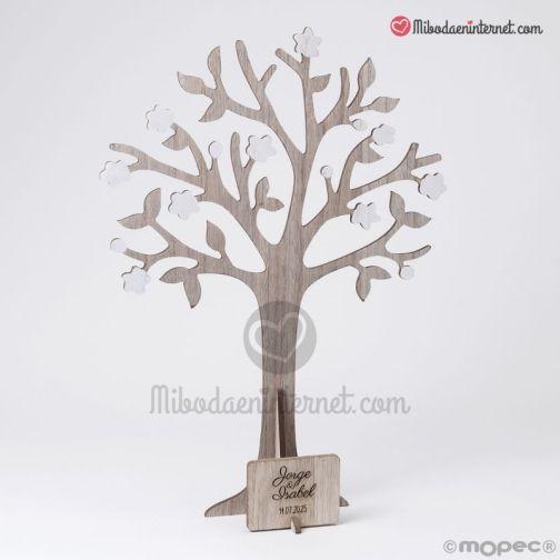 Árbol Deseos de madera con placa